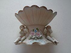 "Vintage Ardco Dallas Porcelain Planter Cherubs Playing Horn 4 3/4"" x  7 1/8"""