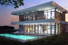 Modern Style House Plan - 3 Beds 3.5 Baths 2890 Sq/Ft Plan #491-3 Exterior - Front Elevation - Houseplans.com