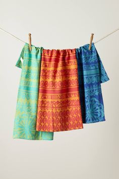 LOVE these colors... Kookaburra Dishtowel Set - anthropologie.com