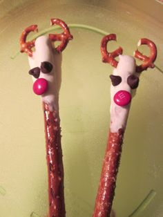 Fun Rudolf the Reindeer pretzel rods - Christmas holiday snack for kids