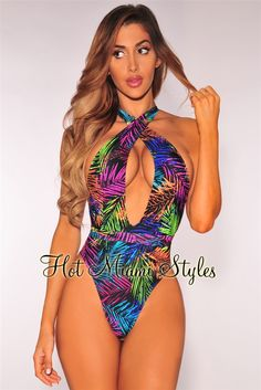 f88666e519eed Black Neon Palm Print Multi Wear Swimsuit. Women SwimsuitsPalm PrintOne  Piece ...