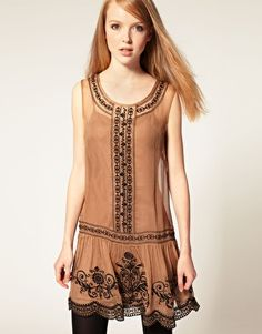 Darling Embroidered Drop Waist Dress