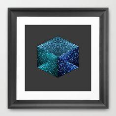 Hexagon blue sparkle diamond Dark Grey Framed Art Print by #PLdesign #BlueSparkles #SparklesGift