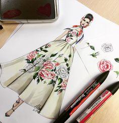 Floral ✏️⚡️ #fashionart #fashiondesign #fashiondrawing #fashionsketch #sketch…