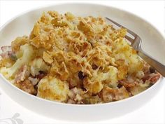 Cauliflower and Bacon Gratin Recipe : Giada De Laurentiis : Food Network Giada Recipes, Veggie Recipes, Vegetarian Recipes, Cooking Recipes, Bread Recipes, Giada At Home, Giada De Laurentiis, Food Network Recipes, Food Processor Recipes