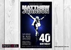 Michael Jackson Birthday Digital Printable Invitation Template