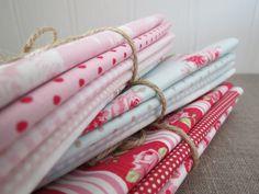 Pretty Tilda Fabric Bundle  PINK & AQUA  by PrettyFabricandTrims, $18.75