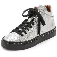MCM Mid Top Sneakers ($830) ❤ liked on Polyvore featuring shoes, sneakers, silver, mcm, mcm shoes and mcm sneakers