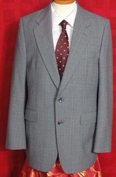 Halston Men's Vtg Gray Window Pane Plaid Wool 2 Button Suit Size 36R #Halston #TwoButton