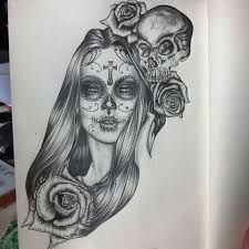 Afficher l 39 image d 39 origine tattoo catrina pinterest images tatouages et id es de tatouages - Santa muerte tatouage signification ...