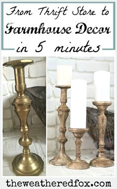 turn inexpensve thrifted candlesticks into gorgeous wood farmhouse candlesticks in 5 minutes! 31 Affordable Eclectic decor Ideas Trending This Summer – turn inexpensve thrifted candlesticks into gorgeous wood farmhouse candlesticks in 5 minutes! Diy Home Decor Rustic, Inexpensive Home Decor, Easy Home Decor, Cheap Home Decor, Farmhouse Decor Cheap, Farmhouse Blogs, Modern Farmhouse, Vintage Farmhouse Decor, Farmhouse Ideas