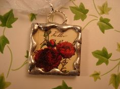 Red  Rose Soldered Glass Pendant by victoriacharlotte on Etsy, $5.75