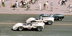 (66) Jim Hall - Chaparral 2A Chevrolet - Chaparral Cars Inc. - (65) Hap Sharp - Chaparral 2A Chevrolet - Chaparral Cars Inc. - (11) Jerry Grant - Lola T70 Mk.1 Chevrolet - USRRC Continental Divide - 1965 United States Road Racing Championship, round 7 - USRRC GT, round 7