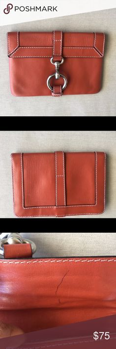 """Authentic❗️Marc Jacobs """"rust-colored"""" Clutch This is such a fun, unique piece for your designer collection! Silver-toned hardware with contrast stitching...Rust tone leather that would pair great with your favorite pair of denim and heels! Exterior is in good condition with little sign of wear. Interior has pen mark in inside flap as shown. Interior lining also has mild signs of wear. Still a great deal at this price! 8""""X1""""x6"""" Marc Jacobs Bags Clutches & Wristlets"""