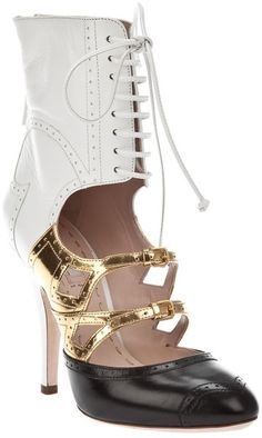 Miu Miu Multicolor  Black White Gold Leather  (Crazy Shoe)(: