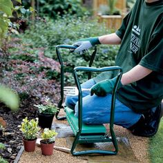 Spending time in the garden is always a fun and relaxing time until backs and knees begin to ache from being bent over for too long. We've decided to fix all of that by designing the Ergonomic Garden Kneeler And Seat. Garden Seating, Garden Chairs, Outdoor Seating, Garden Furniture, Outdoor Furniture, Grass Stains, Tool Pouch, Folding Stool, Multifunctional