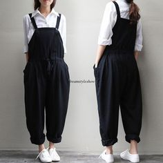 Plus Size Women Loose Linen Pants Cotton Jumpsuit Strap Harem Trousers Overalls Teen Girl Outfits, Teen Fashion Outfits, Outfits For Teens, Suspender Pants, Romper Pants, Harem Pants, Playsuit, Overalls Fashion, Overalls Style