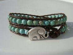 Green Magnesite Beaded Leather Wrap Bracelet with Elephant Button by Tina610