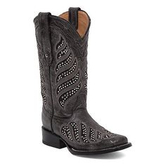 Corral La Joya Square Toe Cowboy Boot ($315) ❤ liked on Polyvore featuring shoes, boots, black, black cowboy boots, square toe cowboy boots, square toe boots, tall western boots and tall boots