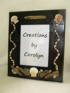 5x7 wall mount frame.  Creations by Carolyn on fb #shell decore #shell crafts #picture frame #drift wood #beach