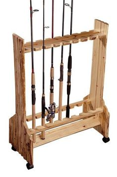 16 Fishing Rod Rolling Rack Reel Holder Log Cabin Style Handcrafted Pine Wood