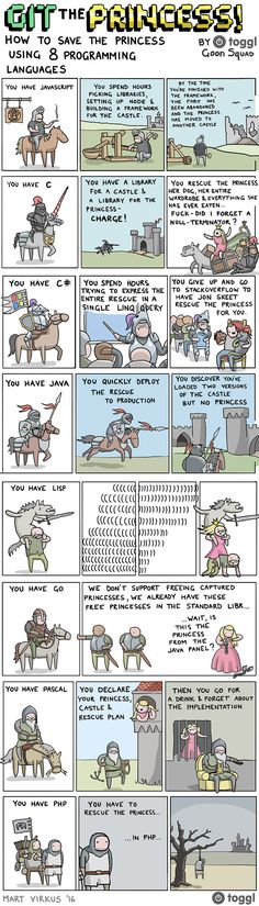 Save the princess with 8 Programming Languages. #programming #coding #software #developers #webdev #sysadmin #programmers #cs