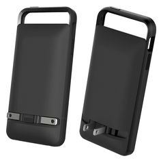 PocketPlug iPhone case with extended battery and built-in power prongs.