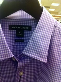 Noteworthy: Purple Gingham Check Button-Down Shirt by Michael Kors