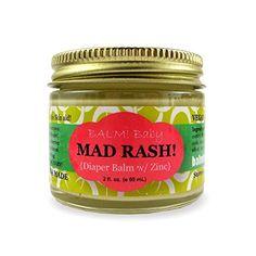 BALM! Baby MAD Rash * Natural Diaper Rash Balm & ALL Purpose Skin Aid * with ZINC {2oz./60mL GLASS Jar}