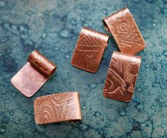 Copper Pendant Bails - handmade findings - etched cabochon bails x6