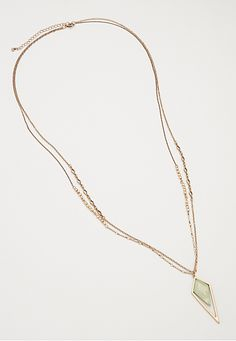 layered statement necklace with mint stone - maurices.com