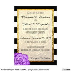 #Modern Purple #Rose Faux #Gold Foil Striped #Wedding 5x7 Paper #Invitation #Card #Glam #Luxury #WeddingPlanner #Printable #Custom #Personalized #Zazzle @zazzle