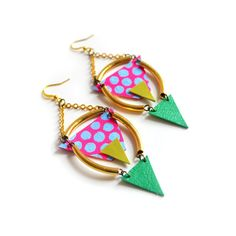 Brass Geometric Earrings, Pink and Green Watermelon Earrings, Colorful Earrings, Brass Jewelry, Blue Dots and Neon Pink Triangle