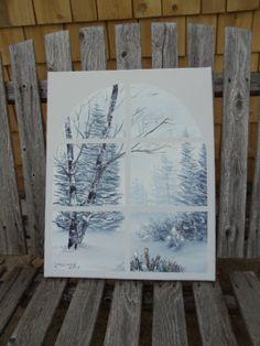 Birch Trees Through a Window in Oils 16 X 20 by LinsFinalTouch