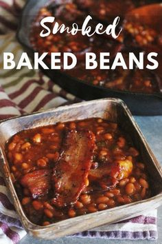 Smoked Baked Beans with Brown Sugar and Bacon These Smoked Baked Beans are perfect for your next summer BBQ! Loaded with bacon, brown sugar, and a slight jalapeno kick, they're a real crowd pleaser! Smoked Baked Beans Recipe, Bbq Baked Beans, Baked Bean Recipes, Grilled Chicken Recipes, Grilled Shrimp, Grilled Salmon, Salmon Recipes, Beans Recipes, Smoked Meat Recipes