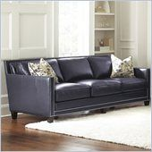 Steve Silver Company Hendrix Sofa with Two Accent Pillows in Navy Blue Compare