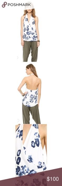 Haute Hippie Floral Silk Halter Top Watercolor flowers bloom across a draped silk-crepe Haute Hippie top. Halter neckline. Lined.  Fabric: Silk crepe. Shell: 100% silk. Lining: 100% lining. Dry clean. Imported, China. Size Xsmall; BRAND NEW without tags! Haute Hippie Tops Blouses