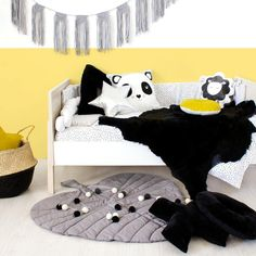The Black Messy Dot Cot Set by Bunni features cheerful irregular black polka dots on a white background. Cot Sets, Little Monkeys, Get The Look, Shag Rug, Create Your Own, Kids Room, Throw Pillows, Yellow, Bed