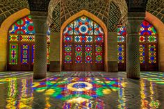 Nasir al-Mulk Mosque, Shiraz, Iran Finished at the end of the 19th century, this Technicolor mosque in southern Iran dazzles with intricate stained-glass windows, richly colored tiles, carved pillars, and woven rugs. Due to its strategic positioning, early morning light produces a kaleidoscopic effect within the structure, which has survived numerous earthquakes thanks to the flexible wood struts within its walls.