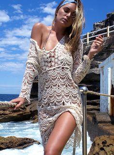 V Neck Long Sleeve Crochet Lace Cover up Dress | victoriaswing