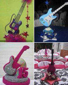 centro de mesa con guitarras (3)-tile                                                                                                                                                      Más Hippie Birthday, Rockstar Birthday, Music Centerpieces, Birthday Centerpieces, Karaoke Party, Music Party, 15th Birthday, Birthday Parties, Guitar Party
