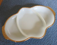 Fire King Divided Dish Fire King Milk Glass by kingdomcreations
