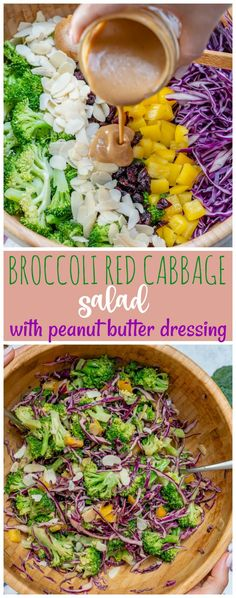 Broccoli + Red Cabbage Salad with Tangy PB Dressing for Clean Eating! - Clean Food Crush Broccoli + Red Cabbage Salad with Tangy PB Dressing for Clean Eating! Clean Eating Vegetarian, Clean Eating Diet, Vegetarian Cooking, Vegetarian Recipes, Healthy Eating, Eating Habits, Healthy Food, Red Cabbage Recipes, Red Cabbage Salad