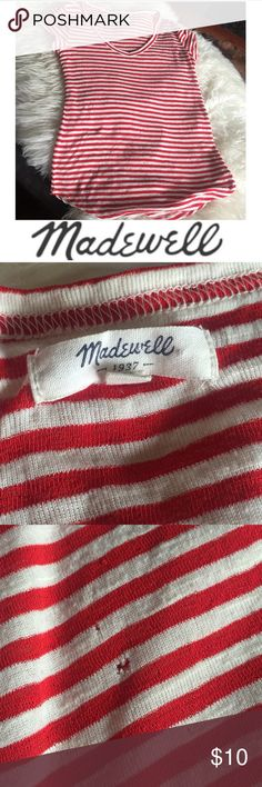 Madewell Red & White Stripe Tee Madewell Red & White Stripe Tee. Stretchy soft knit. V-neck. Cap Short sleeve. Small little holes on bottom. 18 inch bust. 24 inches long. Aside from little holes, great condition. Feel free to make an offer. Madewell Tops Tees - Short Sleeve