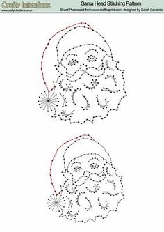 Christmas Santa Head Stitching Pattern on Craftsuprint designed by Sarah Edwards - Christmas Santa Head Stitching Pattern - Now available for download!