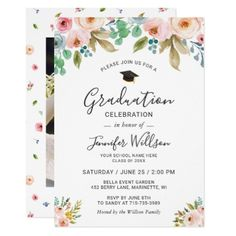 Watercolor Floral Girly Photo Graduation Party Card - invitations custom unique diy personalize occasions