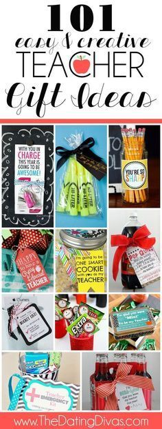 101 Teacher Gift Ideas including ideas for the first day of school, for teacher appreciation week, AND for the end of the school year! http://www.TheDatingDivas.com