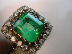5.91 Carat Emerald & Diamond ENGLISH Ring