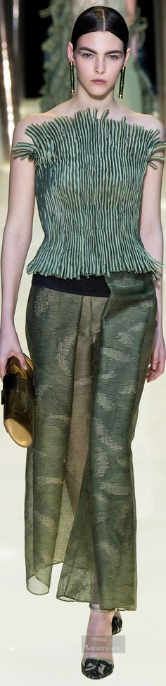 Armani Privé.Spring 2015 Couture--Very artistic use of fabric.  The top is actually made of small tubes.  The skirt also has some interesting folds.