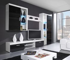 Modern tv wall unit entertainment center details about 3 white living room entertainment center modern wall unit Modern Tv Wall Units, Modern Wall, Living Room Wall Units, Living Room Decor, White Furniture, Furniture Design, Karton Design, Samba, Entertaining